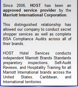 Hospitality Optimal Service Testing, Inc. | Approved vendor by Marriott Corporation
